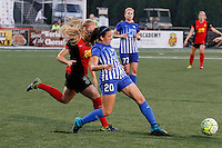 Rochester, NY - Friday May 27, 2016: Boston Breakers defender Mollie Pathman (20) and Western New York Flash forward Makenzy Doniak (3). The Western New York Flash defeated the Boston Breakers 4-0 during a regular season National Women's Soccer League (NWSL) match at Rochester Rhinos Stadium.