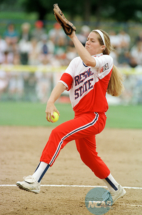 25 MAY 1998:  Pitcher Amanda Scott (36) of Fresno State winds up for a pitch against Arizona during the NCAA Division 1 Woman's Softball Championship held at the Amateur Softball Hall of Fame Stadium in Oklahoma City, OK and hosted by the University of Oklahoma. Fresno State Defeated the University of Arizona 1-0 for the championship title. Lisa Hoke/NCAA Photos