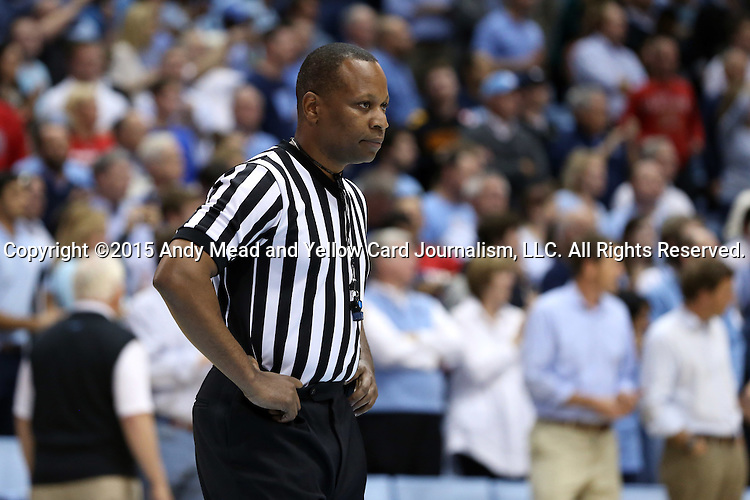 01 December 2015: Referee Michael Stephens. The University of North Carolina Tar Heels hosted the University of Maryland Terrapins at the Dean E. Smith Center in Chapel Hill, North Carolina in a 2015-16 NCAA Division I Men's Basketball game. UNC won the game 89-81.