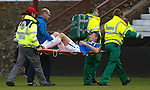 Dorin Goian stretchered off for treatment