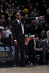 Wake Forest Demon Deacons head coach Danny Manning yells instructions to his defense during first half action against the Syracuse Orange at the LJVM Coliseum on January 3, 2018 in Winston-Salem, North Carolina.  (Brian Westerholt/Sports On Film)