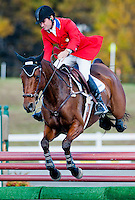 Fernhill Eagle, with rider Phillip Dutton (USA), competes during the Stadium Jumping test during the Fair Hill International at Fair Hill Natural Resources Area in Fair Hill, Maryland on October 21, 2012.