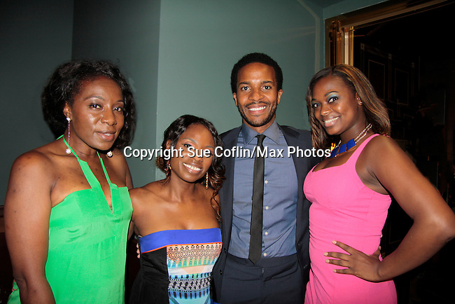 Maureen Tokeson-Martin, Delaina Dixon (The Gossip Table & Diva Gals Daily - all 3 ladies) & Andre Holland (stars in The Knick) and Nic ForReel at The Knick - on Cinemax - premiering Aug 8, 2014 - starring Andre Holland, Leon Addison Brown, David Fierro and more on July 23, 2014 at NY Academy of Medicine , New York City, New York.  (Photo by Sue Coflin/Max Photos)