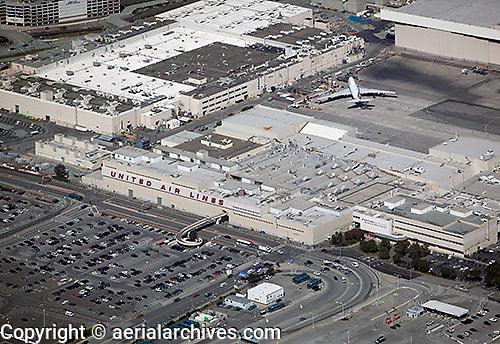 aerial photograph of United Air Lines maintenance facility San Francisco International airport SFO