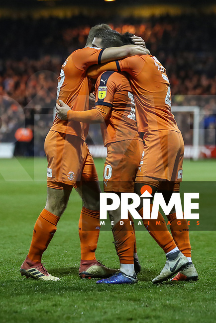 GOAL - Elliot Lee of Luton Town (centre) celebrates with team mates after he scores his team's second goal during the Sky Bet League 1 match between Luton Town and Bradford City at Kenilworth Road, Luton, England on 27 November 2018. Photo by David Horn.