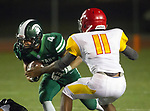 Torrance, CA 09/08/17 - Anthony Rugnetta (South #4) and Cameron Jackson (Hawthorne #11) in action during the Hawthorne vs South Torrance CIF-SS non-conference Varsity football game at South Torrance High School.