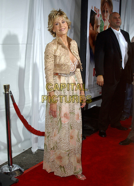 "JANE FONDA.At New Line Cinema's Los Angeles Premiere of ""Monster-in-Law"" held at The Mann National Theatre in Westwood, California, USA,.April 29th 2005..full length beige cream patterned floral flower print long dress cropped jacket gold pattern.Ref: DVS.www.capitalpictures.com.sales@capitalpictures.com.©Debbie VanStory/Capital Pictures"