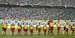 24 June 2006: Argentina's starters. From left: Juan Riquelme (ARG), Esteban Cambiasso (ARG), Gabriel Heinze (ARG), Lionel Scaloni (ARG), Maxi Rodriguez (ARG), Hernan Crespo (ARG), Javier Mascherano (ARG), Roberto Abbondanzieri (ARG), Roberto Ayala (ARG), Javier Saviola (ARG), Juan Sorin (ARG). Argentina (1st place in Group C) defeated Mexico (2nd place in Group D) 2-1 after extra time at the Zentralstadion in Leipzig, Germany in match 50, a Round of 16 game, in the 2006 FIFA World Cup.
