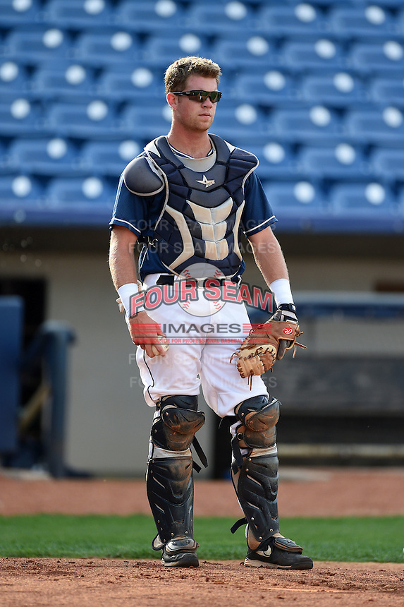 Lake County Captains catcher Richard Stock (28) during practice before a game against the Fort Wayne TinCaps on August 21, 2014 at Classic Park in Eastlake, Ohio.  Lake County defeated Fort Wayne 7-8.  (Mike Janes/Four Seam Images)