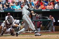 Oregon State first baseman Danny Hayes(9) swings the bat during Game 11 of the 2013 Men's College World Series against the Mississippi State Bulldogs on June 21, 2013 at TD Ameritrade Park in Omaha, Nebraska. The Bulldogs defeated the Beavers 4-1, to reach the CWS Final and eliminating Oregon State from the tournament. (Andrew Woolley/Four Seam Images)