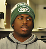 Quincy Enunwa #81, New York Jets wide receiver, speaks to the media at Atlantic Health Jets Training Center in Florham Park, NJ on Monday, Jan. 2, 2017. Players cleaned out their lockers one day after their 5-11 season concluded.
