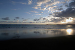 Clouds reflected in the surf, Tenerife, Canary Islands. Playa bahia del Duque.