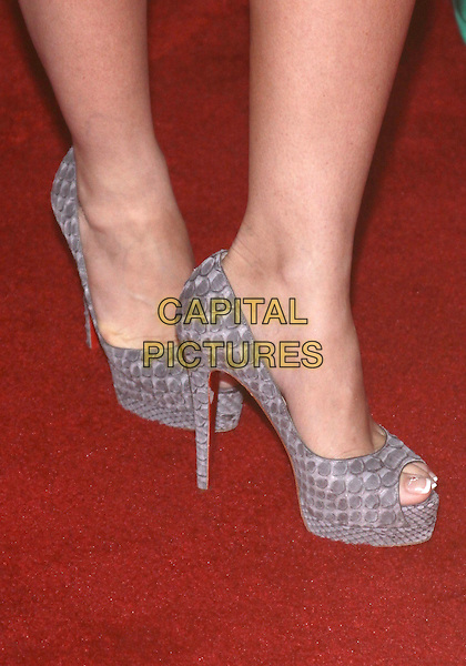 "JENNIFER LOVE HEWITT's shoes .""Ghost Whisperer""  Celebrates 100th Episode held at The XIV by Michael Mina restaurant, West Hollywood, California, USA, 1st March 2010..detail feet heels grey gray platform peep toe shoes heels snakeskin snake print embossed croc animal Christian Louboutin .CAP/ADM/TC.©T. Conrad/AdMedia/Capital Pictures."