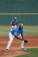 Myrtle Beach Pelicans third baseman Jeimer Candelario (24) between innings during a game against the Potomac Nationals at Ticketreturn.com Field at Pelicans Ballpark on May 25, 2015 in Myrtle Beach, South Carolina. Myrtle Beach defeated Potomac 3-0. (Robert Gurganus/Four Seam Images)