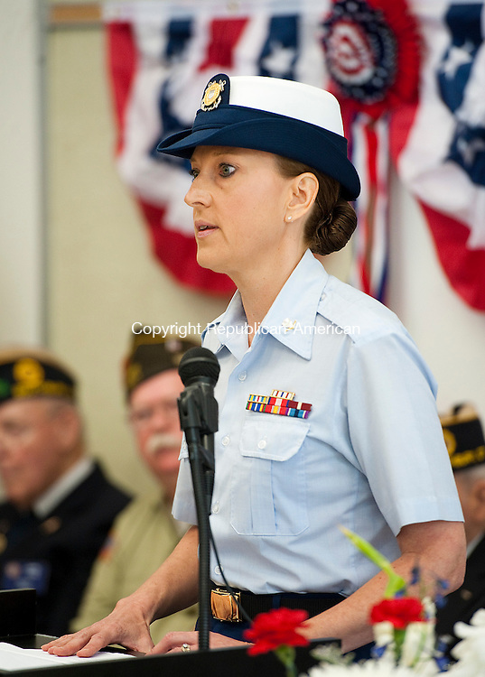 SOUTHBURY,  CT--- -053016JS16- United Staes Coast Guard Petty Officer 3rd Class Christine Granja of Southbury, was the keynote speaker during Memorial Day commemorations Monday at the Southbury Senior Center.  Granja's son is now serving in the USCG. The annual parade was canceled due to weather concerns. <br />  Jim Shannon Republican-American