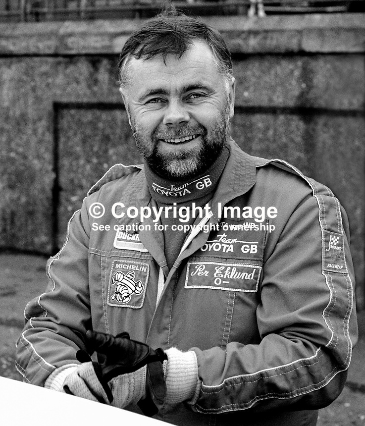 Per Eklund, rally driver, Sweden, 19850402PE2..Copyright Image from Victor Patterson, 54 Dorchester Park, Belfast, UK, BT9 6RJ..Tel: +44 28 9066 1296.Mob: +44 7802 353836.Voicemail +44 20 8816 7153.Skype: victorpattersonbelfast.Email: victorpatterson@mac.com.Email: victorpatterson@ireland.com (back-up)..IMPORTANT: If you wish to use this image or any other of my images please go to www.victorpatterson.com and click on the Terms & Conditions. Then contact me by email or phone with the reference number(s) of the image(s) concerned.