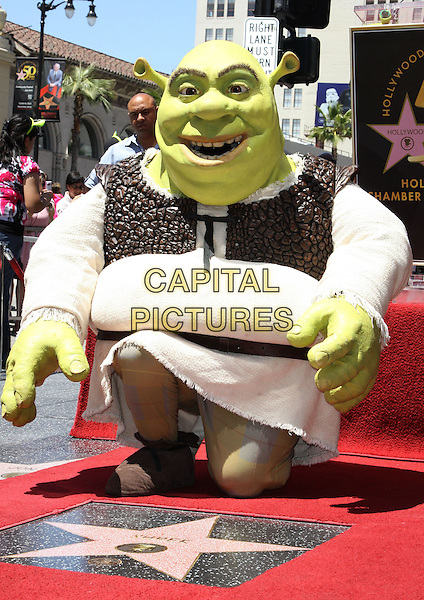 SHREK.Shrek honoured with the 2408th star on the Hollywood Walk of Fame held On Hollywood Blvd., Hollywood, California, USA..May 20th, 2010.full length grey gray suit costume  beige kneeling.CAP/ADM/KB.©Kevan Brooks/AdMedia/Capital Pictures.