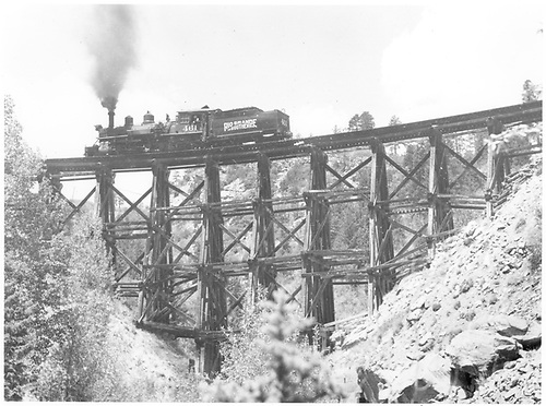 Engine #461 running light crossing Pleasant Valley Trestle.<br /> RGS  Pleasant Valley Trestle, CO  Taken by Richardson, Robert W. - 6/5/1951