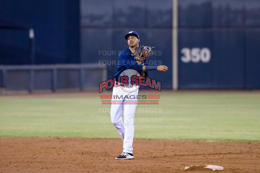 AZL Brewers shortstop Yeison Coca (7) on defense against the AZL Cubs at Maryvale Baseball Park in Phoenix, Arizona. AZL Cubs defeated the AZL Brewers 9-1. (Zachary Lucy/Four Seam Images)