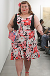 Model walks runway in an outfit from the Smart Glamour Spring 2015 collection by Mallorie Carrington, at an event sponsored by Sydney Stone and Stylaphile at the Thierry-Goldberg Gallery on February 20, 2015.