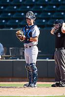 Wilmington Blue Rocks catcher Cam Gallagher (35) on defense against the Winston-Salem Dash at BB&T Ballpark on July 6, 2014 in Winston-Salem, North Carolina.  The Dash defeated the Blue Rocks 7-1.   (Brian Westerholt/Four Seam Images)