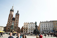 St. Mary's Basilica in Main Market Square in Krakow, Poland on April 2, 2016.