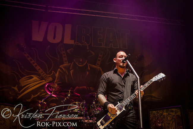 Volbeat perform at Mohegan Sun Arena on January 27, 2012 on the Gigantour 2012 Tour.