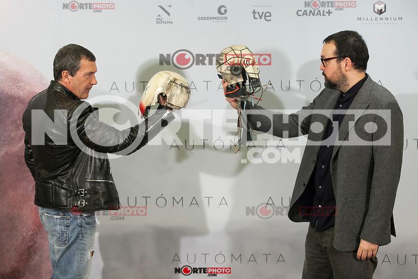 Spanish actor Antonio Banderas poses for the photographers during the `Automata&acute; film presentation in Madrid, Spain. January 20, 2015. (ALTERPHOTOS/Victor Blanco) /NortePhoto<br /> NortePhoto.com