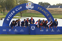 Team Captain Thomas Bjorn prepares to lift the Ryder Cup after Team Europe won it at Le Golf National, Ile-de-France, France. 30/09/2018.<br /> Picture Thos Caffrey / Golffile.ie<br /> <br /> All photo usage must carry mandatory copyright credit (© Golffile | Thos Caffrey)
