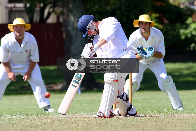 Joel Harden in action. Senior cricket, Wakatu v ACOB, Day 2, 14 December 2013, Victory Square, Nelson, New Zealand<br /> Photo: Marc Palmano/shuttersport.co.nz
