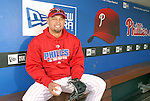 10/17/08 2:46:03 PM -- Philadelphia, PA, U.S.A. -- Philadelphia Phillies Shane Victorino poses for a photo in the Phillies dugout after practice October 17, 2008 at Citizen's Bank Park in Philadelphia, Pennsylvania. Victorino showed the team that cast him aside that it made a costly error. The Philadelphia outfielder, who spent six years in the L.A. Dodgers' farm system, used key hits in pressure situations, including a triple, Game 4 eighth-inning homer and six RBI during the NLCS, to help the Phillies beat the Dodgers and reach their first World Series since 1993. -- ...Photo by William Thomas Cain/cainimages.com.