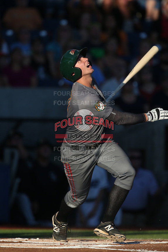 Kevin Padlo (7) of the Boise Hawks bats during a game against the Hillsboro Hops at Ron Tonkin Field on August 21, 2015 in Hillsboro, Oregon. Boise defeated Hillsboro, 7-1. (Larry Goren/Four Seam Images)