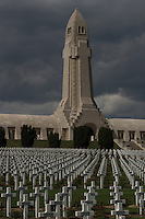 Graves of French soldiers died during World War I are seen at Douaumont Ossuary in Verdun, Meuse, France, August 22, 2014. 2014 marks 100th anniversary of the Great War.