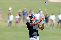 Tony Finau (USA) hits his second shot on the first hole during the final round of the 118th U.S. Open Championship at Shinnecock Hills Golf Club in Southampton, NY, USA. 17th June 2018.<br /> Picture: Golffile | Brian Spurlock<br /> <br /> <br /> All photo usage must carry mandatory copyright credit (&copy; Golffile | Brian Spurlock)