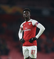 Arsenal's Bukayo Saka<br /> <br /> Photographer Rob Newell/CameraSport<br /> <br /> UEFA Europa League Group E - Arsenal v FK Qarabag - Thursday 13th December 2018 - Emirates Stadium - London<br />  <br /> World Copyright © 2018 CameraSport. All rights reserved. 43 Linden Ave. Countesthorpe. Leicester. England. LE8 5PG - Tel: +44 (0) 116 277 4147 - admin@camerasport.com - www.camerasport.com