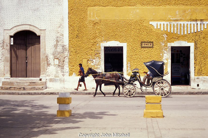 Horse and carriage in the Spanish colonial town of Izamal, Yucatan, Mexico