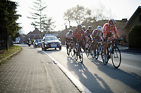 In full finale, with 6km to go, Tiesj Benoot (BEL/Lotto-Soudal) &amp; Greg Van Avermaet (BEL/BMC) take to the front<br /> <br /> 71st Omloop Het Nieuwsblad 2016
