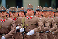 Hungarian Soldiers in khaki uniform marching in Budapest, Hungary