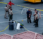 DEL MAR, CA - SEPTEMBER 02: Police cordon off the area and secure the crime scene after shots were fired and at least one person was shot before an Ice Cube concert at Del Mar Race Track on September 2, 2018 in Del Mar, California (Photo by Casey Phillips/Eclipse Sportswire/Getty Images)