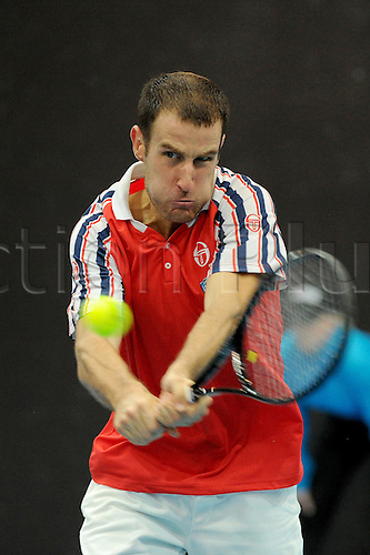 23.10.2016.  St. Jakobshalle, Basel, Switzerland. Basel Swiss Indoors Tennis Championships. Qualifying Day 2. Aldin Setkic in action in the match between Donald Young of the United States of America and Aldin Setkic of Bosnia and Herzegovina