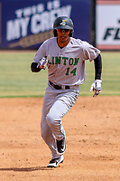 Clinton LumberKings outfielder Dimas Ojeda (14) races to third base during a Midwest League game against the Wisconsin Timber Rattlers on April 26, 2018 at Fox Cities Stadium in Appleton, Wisconsin. Clinton defeated Wisconsin 7-3. (Brad Krause/Four Seam Images)