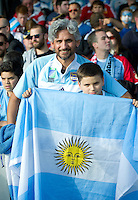 Argentina supporters enjoy the pre-match atmosphere. Rugby World Cup Pool C match between Argentina and Georgia on September 25, 2015 at Kingsholm Stadium in Gloucester, England. Photo by: Patrick Khachfe / Onside Images