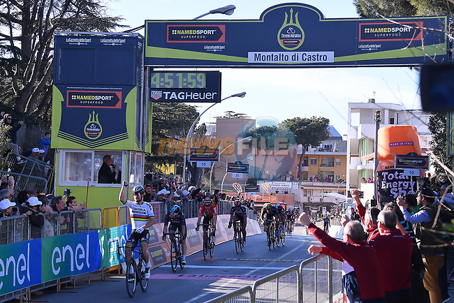 World Champion Peter Sagan (SVK) Bora-Hansgrohe wins Stage 3 of the 2017 Tirreno Adriatico running 204km from Monterotondo Marittimo to Montalto di Castro, Italy. 10th March 2017.<br /> Picture: La Presse/Gian Mattia D'Alberto | Cyclefile<br /> <br /> <br /> All photos usage must carry mandatory copyright credit (&copy; Cyclefile | La Presse)