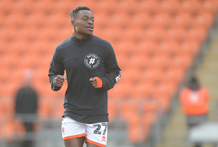 Blackpool's Marc Bola during the pre-match warm-up <br /> <br /> Photographer Kevin Barnes/CameraSport<br /> <br /> The EFL Sky Bet League One - Blackpool v Walsall - Saturday 9th February 2019 - Bloomfield Road - Blackpool<br /> <br /> World Copyright © 2019 CameraSport. All rights reserved. 43 Linden Ave. Countesthorpe. Leicester. England. LE8 5PG - Tel: +44 (0) 116 277 4147 - admin@camerasport.com - www.camerasport.com