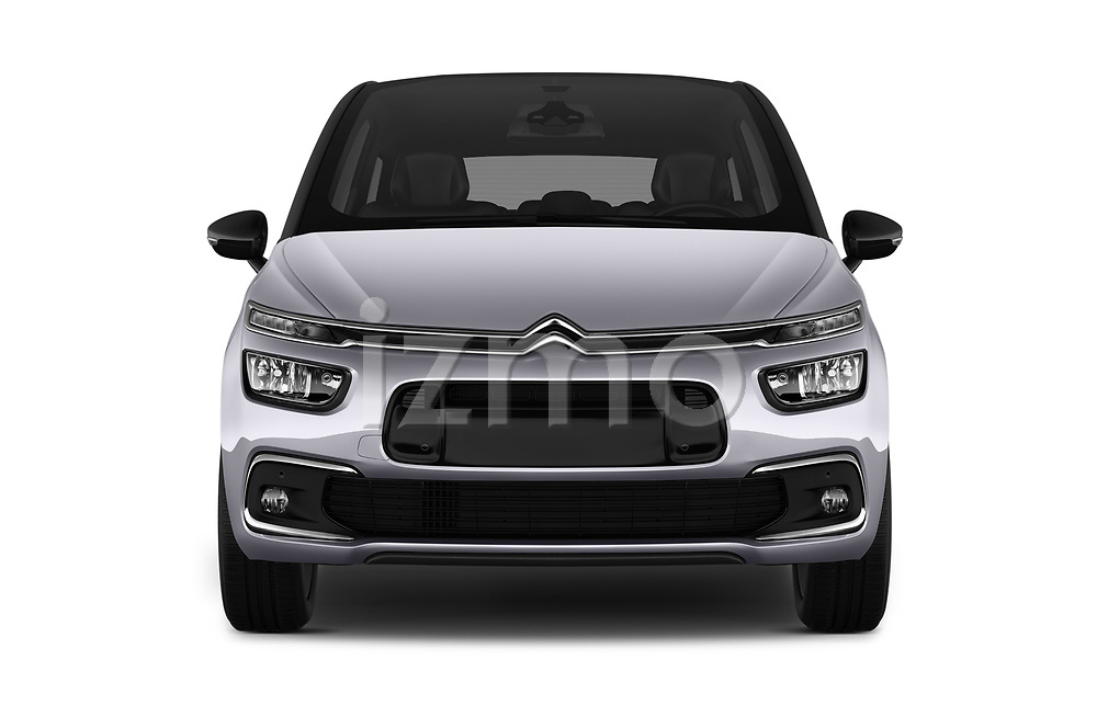 Car photography straight front view of a 2017 Citroen C4-Picasso Shine 5 Door Mini Mpv Front View