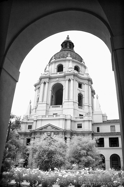 Pasadena City Hall through arch