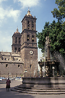 The Spanish colonial cathedral in the city of Puebla, Mexico. This cathedral's belltowers are the tallest in Mexico.