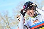World Champion Anna Van der Breggen (NED) Boels Dolmans at sign on before the start of the Strade Bianche Women Elite 2019 running 133km from Siena to Siena, held over the white gravel roads of Tuscany, Italy. 9th March 2019.<br /> Picture: LaPresse/Gian Matteo D'Alberto | Cyclefile<br /> <br /> <br /> All photos usage must carry mandatory copyright credit (© Cyclefile | LaPresse/Gian Matteo D'Alberto)