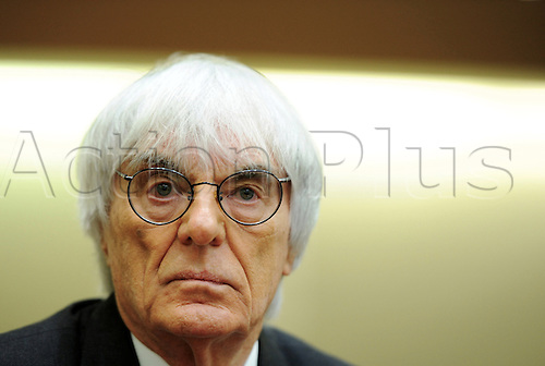 Bernie Ecclestone, CEO and president of F1's governing body, waits for the beginning of another session of the trial against the former head of risk management at Bavarian bank BayernLB  Gribkowsky at the state court in Munich, Germany, 10 November 2011.  Former head of risk management at Bavarian bank BayernLB Gerhard Gribkowsky is charged with corruption, abuse of confidence and tax evasion, after overseeing the sale of BayernLB's commercial rights stake to private equity firm CVC Capital Partners in early 2006. Bernie Ecclestone has admitted to paying Gribkowsky a total of 44 million dollars in 2006 and 2007 from himself and his family holding company Bambino Trust on Monday, 09 November 2011.