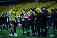 Hurricanes' Brad Shields celebrates his 100th super match after the Super Rugby match between the Hurricanes and Blues at Westpac Stadium in Wellington, New Zealand on Saturday, 7 July 2018. Photo: Dave Lintott / lintottphoto.co.nz
